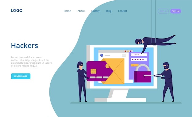 Website template with of hackers concept