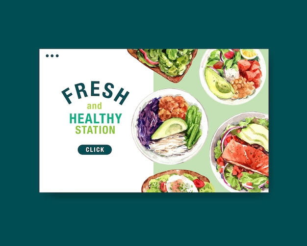 Modello di sito web con design di alimenti sani e biologici