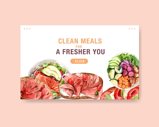 Website template with healthy and organic food design