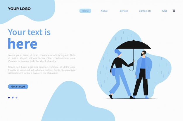 雨の中を歩く若いカップルのイラストのウェブサイトテンプレート。