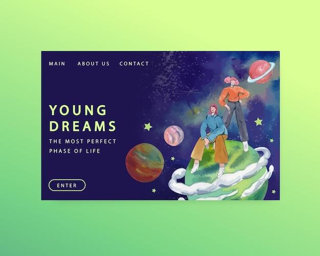 수채화 스타일의 국제 청소년의 날 웹 사이트 템플릿