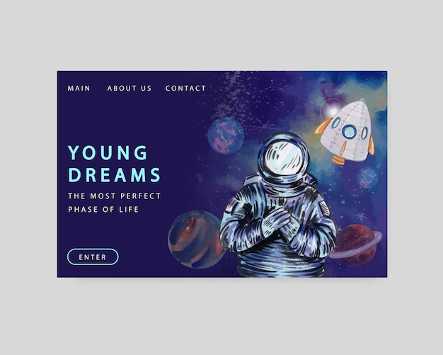 Website template with international youth day in watercolor style