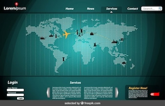 Website template with map