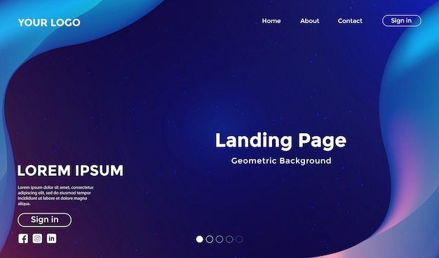 Website template with modern shape geometric background