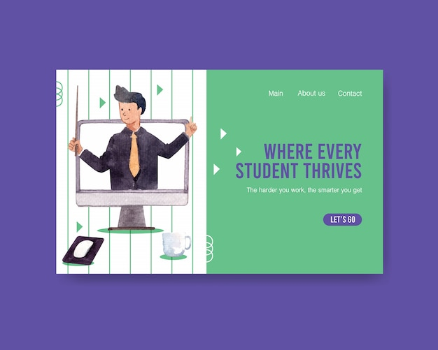 Website template with online education concept design watercolor
