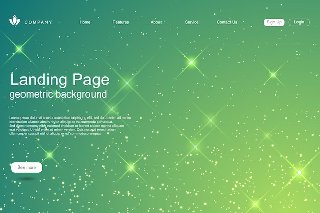 Website template with shiny stars background