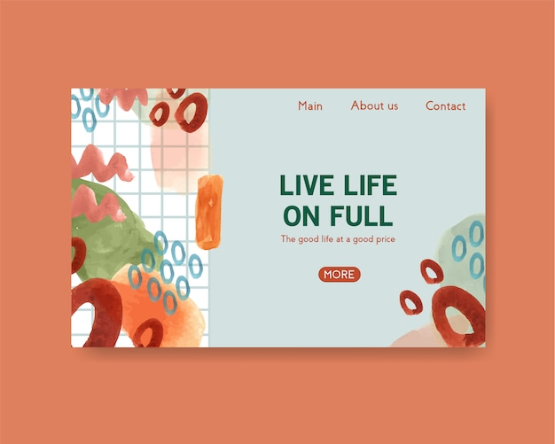 Website template with shopping design for internet and online community watercolor illustration