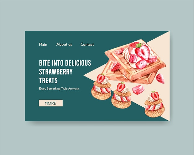 Шаблон сайта с дизайном клубничной выпечки для интернета, интернет-сообщества и рекламы акварельной иллюстрации