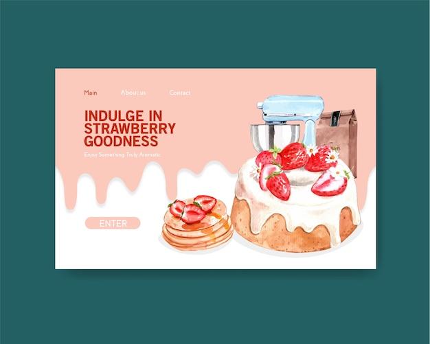 인터넷, 온라인 커뮤니티를위한 딸기 베이킹 디자인 웹 사이트 템플릿 및 수채화 그림 광고