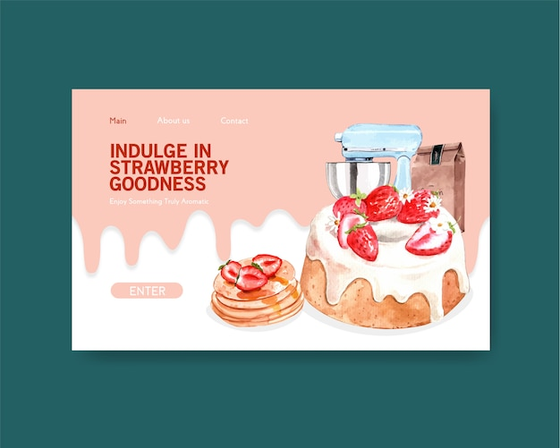 Website template with strawberry baking design for internet, online community and advertise watercolor illustration