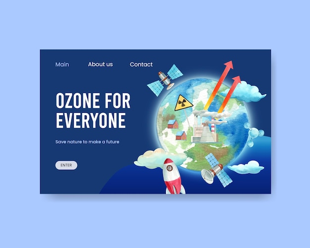 Шаблон веб-сайта с концепцией всемирного дня озона, акварель в стиле