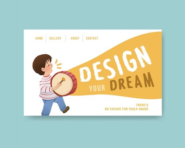 ソーシャルメディア、水彩画の青年日デザインのウェブサイトテンプレート