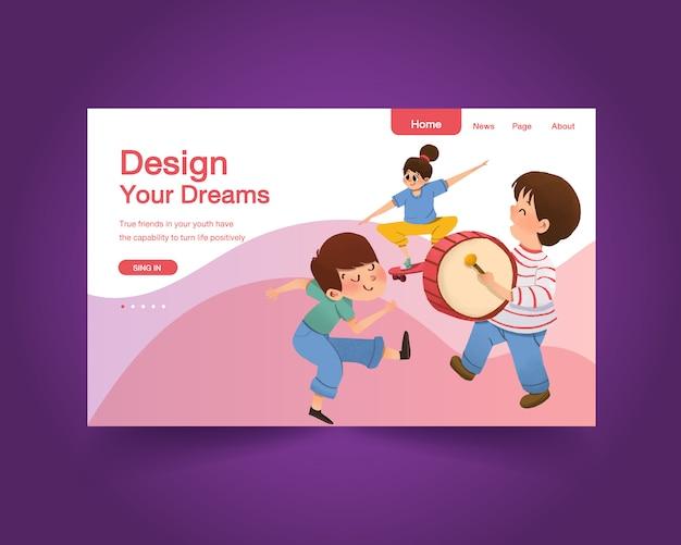 소셜 미디어, 수채화를위한 청소년의 날 디자인 웹 사이트 템플릿