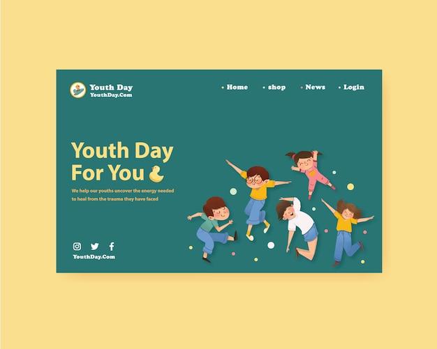 Modello di sito web con la progettazione della giornata della gioventù per i social media, acquerello
