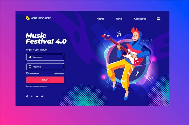 Website templates for music themes, guitar lessons, festivals, coaching, concert.