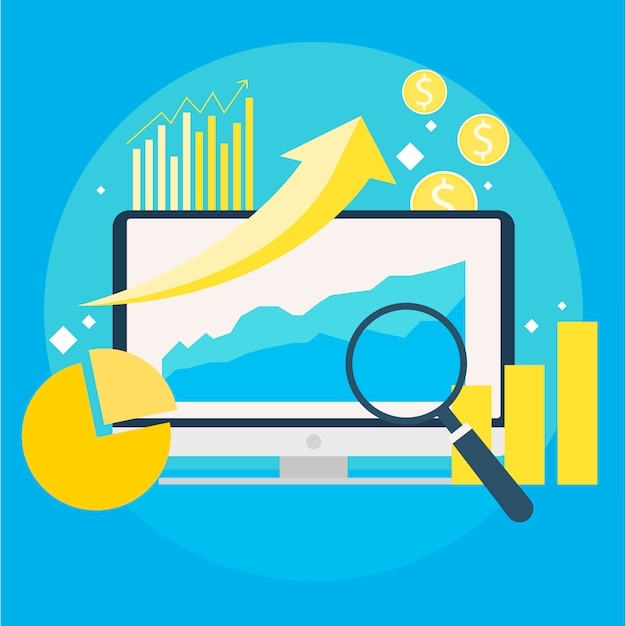 Website traffic growth banner. computer with diagrams, growth charts. magnifying glass.