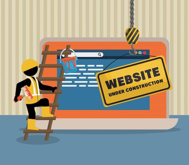 ラップトップで建設中のウェブサイト