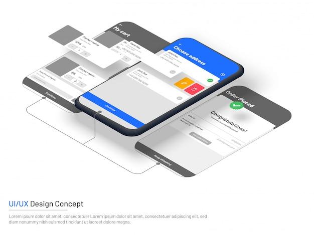 電子商取引のためのウェブサイトのワイヤフレーム、アイソメのスマートフォン。