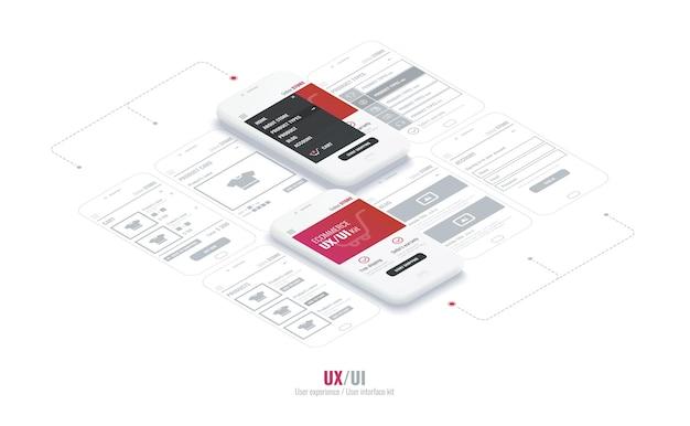 Каркас веб-сайта для мобильных приложений со ссылкой концептуальные мобильные телефоны со страницей мобильного приложения