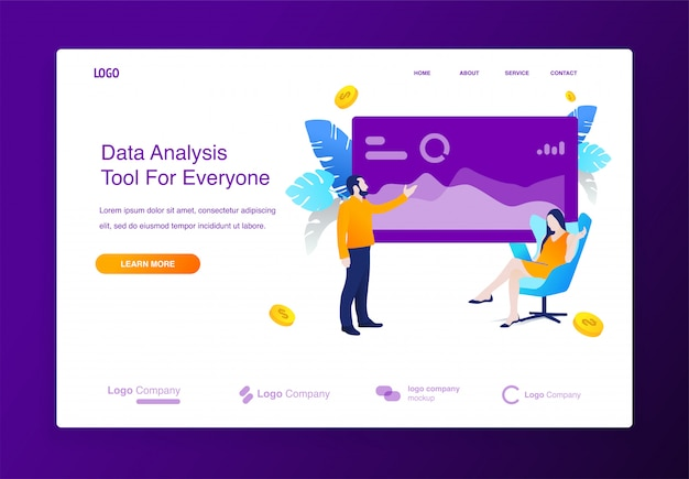 Website with data analysis illustration concept