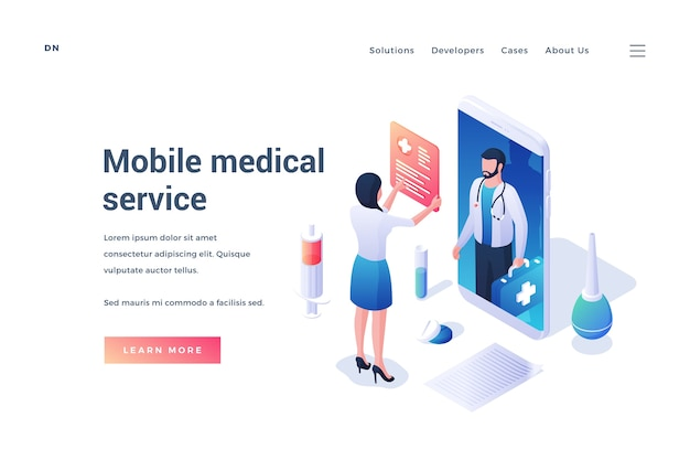 Веб-сайт с изометрической мультяшной пациенткой