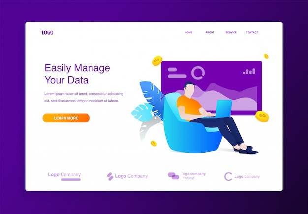 Website with of young adult man sitting on the couch working from with laptop concept illu