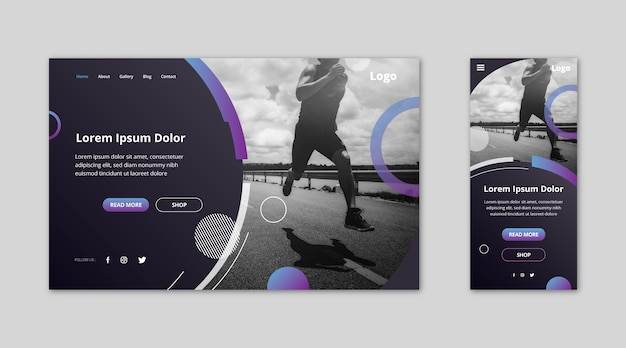 Webtemplate landing page for athlete