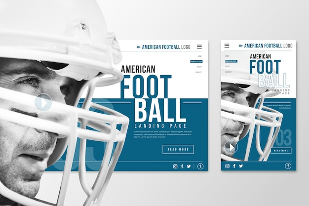 Webtemplate landing page for football