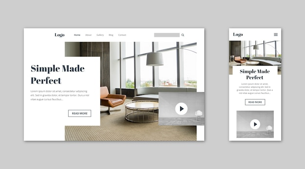 Webtemplate landing page for homes