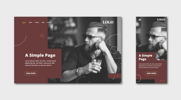Webtemplate landing page for simple page