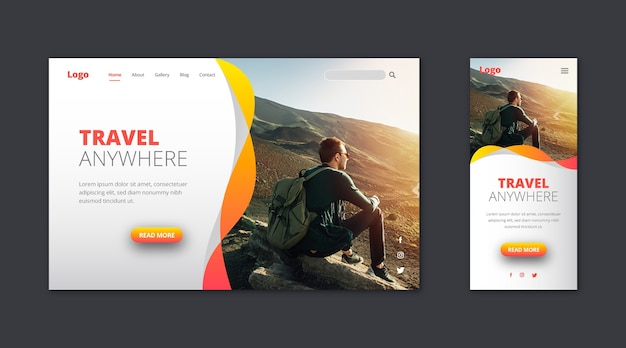 Webtemplate landing page for traveling