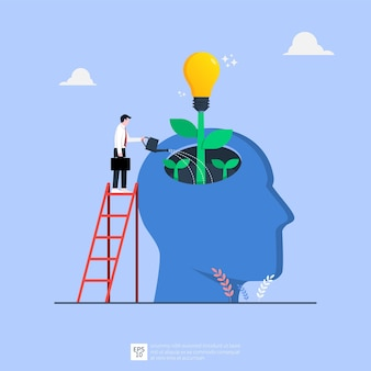 Webtiny businessman watering idea light bulb from big human head illustration. business idea concept