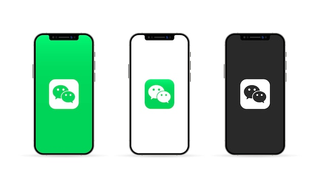 Wechat app on the iphone screen. social media concept. ui ux white user interface.