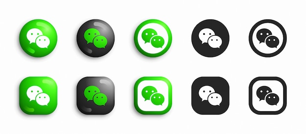 Wechat modern 3d and flat icons set
