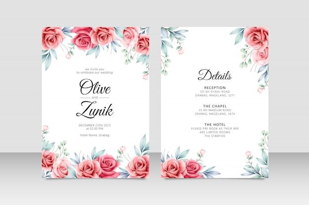 バラの花の水彩画を持つ美しいweddigカードテンプレート