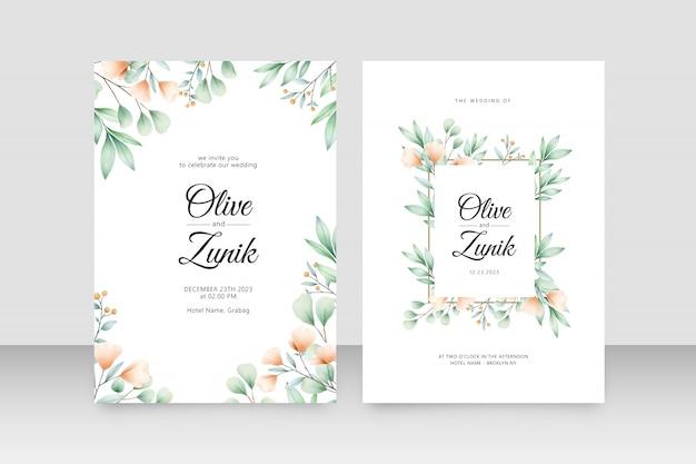 花と葉の水彩画を持つ美しいweddigカード