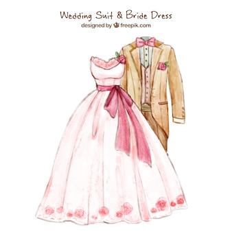 ラブリーweddindスーツ&花嫁のドレス