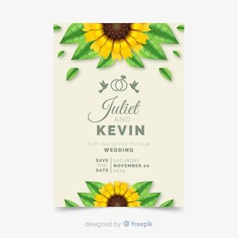 Weddind招待状カードのテンプレート