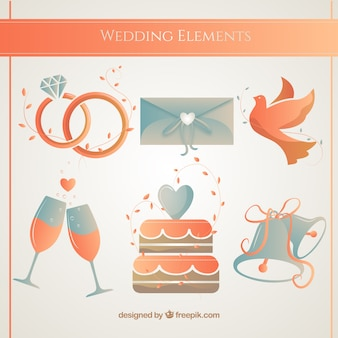 Wedding accessories in orange tones