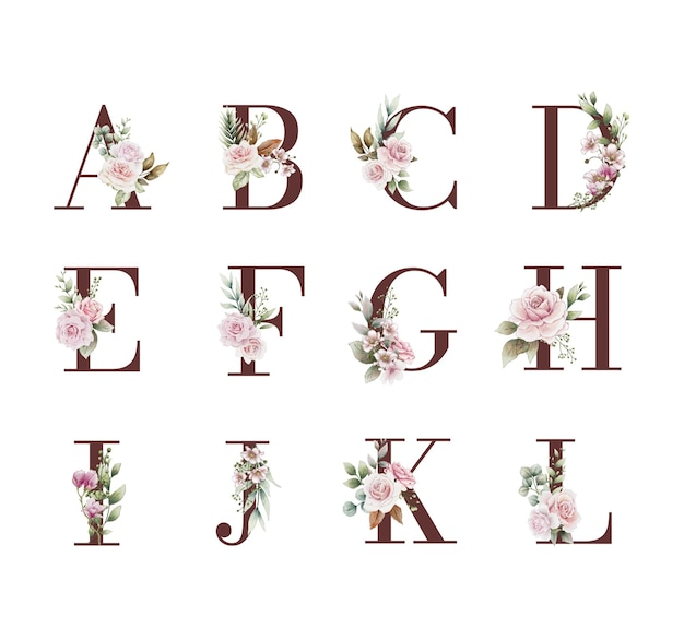 수채화 꽃 장식으로 결혼식 알파벳