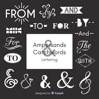 Wedding ampersands and catchwords lettering