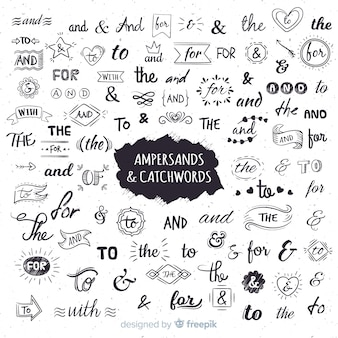 Wedding ampersands and catchwords lettering
