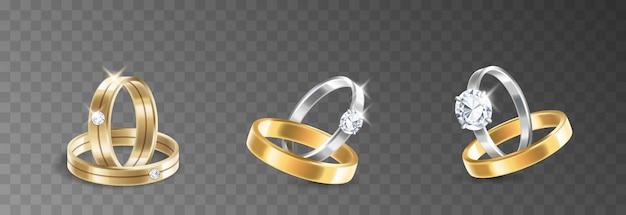 シルバー、パラジウムメタル、ダイヤモンド、ジルコン、宝石を透明な背景にセットしたウェディングリングとエンゲージリング。現実的な3dベクトル図