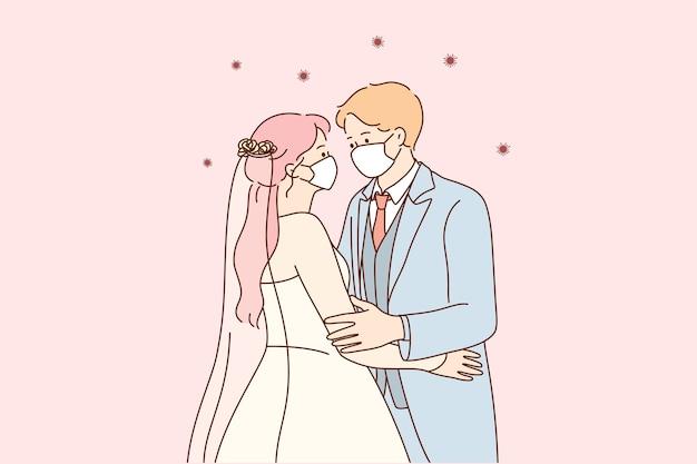 コロナウイルスのパンデミックの概念の間の結婚式と休日。