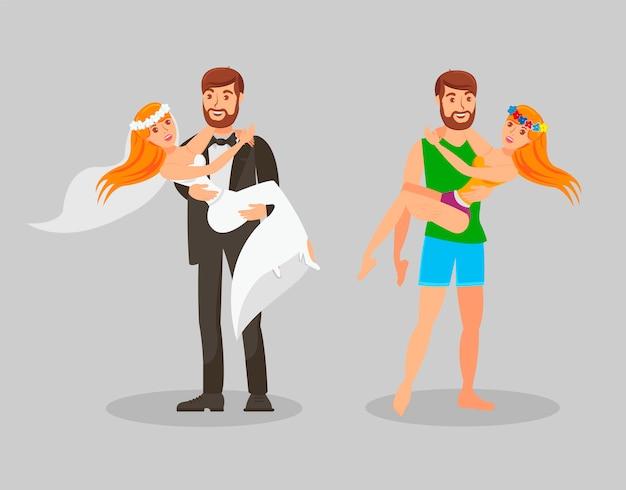 Свадьба и медовый месяц плоский векторная иллюстрация