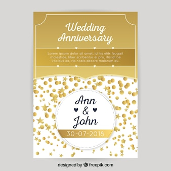 Wedding anniversary card in golden style