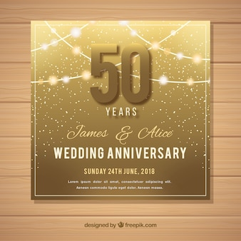 Wedding anniversary card in golden style