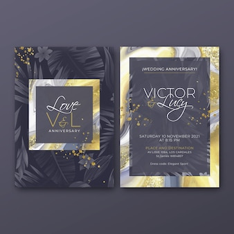 Wedding anniversary card template Premium Vector