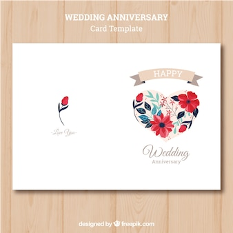 Свадебная открытка с яркими цветами