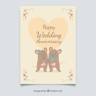 Carta di anniversario di matrimonio con coppia carina di topi